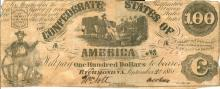 September 2nd, 1861 Richmond Virginia Confederate States of America $100 Bill