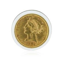 1901 $5 CU Liberty Head Half Eagle Gold Coin