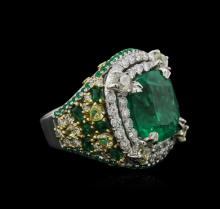 Two-Tone GIA Certified 10.34 ctw Emerald and Diamond Ring