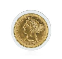 1897 $5 BU Liberty Head Half Eagle Gold Coin