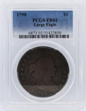 1798 PCGS Graded FR02 Draped Bust Large Eagle Silver Dollar