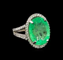 GIA Cert 11.06 ctw Emerald and Diamond Ring - 14KT White Gold