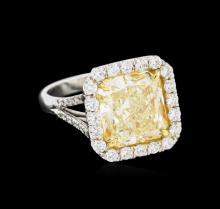 EGL USA Cert 6.95 ctw Fancy Yellow Diamond Ring - Platinum