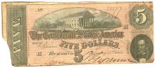 $5 1864 Richmond Virginia Confederate States of America Bank Note