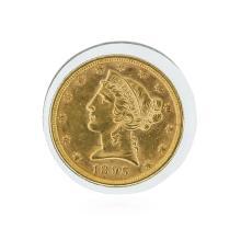 1895 $5 AU Liberty Head Half Eagle Gold Coin