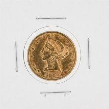 1886-S $5 AU Liberty Head Half Eagle Gold Coin