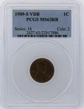 1909-S VDB PCGS MS63RB Lincoln One Cent