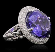 18KT White Gold GIA Certified 30.19 ctw Tanzanite and Diamond Ring
