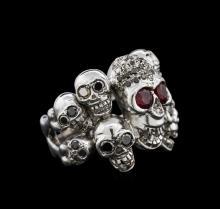 0.78 ctw Ruby and Diamond Skull Ring - 18KT White Gold