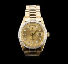 Rolex 18KT Yellow Gold Diamond DayDate Men's Watch