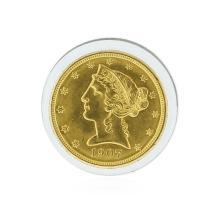 1907 $5 BU Liberty Head Half Eagle Gold Coin