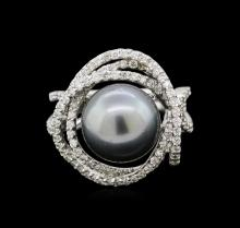 South Sea Cultured Pearl and Diamond Ring - 14KT White Gold