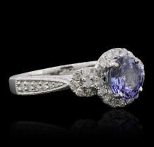 14KT White Gold 1.51 ctw Tanzanite and Diamond Ring