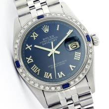 Rolex Stainless Steel Diamond and Sapphire DateJust Men's Watch