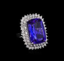 14KT White Gold GIA Certified 26.74 ctw Tanzanite and Diamond Ring