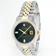 Rolex 14KT Two-Tone Onyx And Diamond DateJust Men's Watch