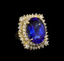 14KT Yellow Gold 22.93 ctw GIA Certified Tanzanite and Diamond Ring