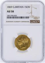 1869 NGC AU58 Great Britain 1 Sovereign Gold Coin