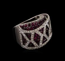 11.16 ctw Ruby and Diamond Ring - 18KT White Gold