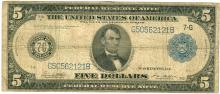 1914 $5 Blue Seal Federal Reserve Note