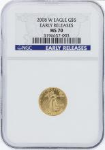 2008-W NGC MS70 Early Release American Eagle Gold Coin Set