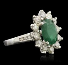 14KT White Gold 2.49 ctw Emerald and Diamond Ring
