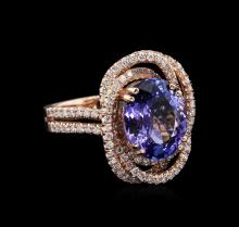 4.25 ctw Tanzanite and Diamond Ring - 14KT Rose Gold
