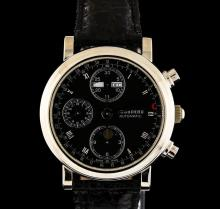 Tourneau 18KT White Gold Day-Date Moonphase Chronograph Watch