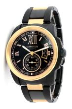 Cartier Black DLC and 18KT Rose Gold Calibre Men's Watch