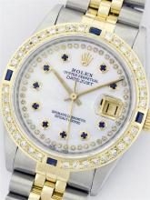 Rolex Two Tone Diamond and Sapphire DateJust Men's Watch