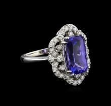 4.92 ctw Tanzanite and Diamond Ring - 14KT White Gold
