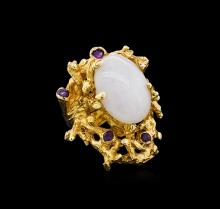 8.31 ctw Jade and Amethyst Ring - 14KT Yellow Gold