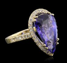 14KT Yellow Gold GIA Certified 8.69 ctw Tanzanite and Diamond Ring