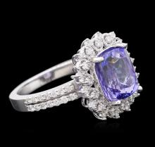 14KT White Gold 3.60 ctw Tanzanite and Diamond Ring