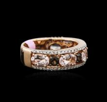 1.98 ctw Morganite, Smokey Topaz and Diamond Ring - 14KT Rose Gold