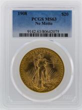 1908 PCGS MS63 $20 No Motto St. Gaudens Double Eagle Gold Coin