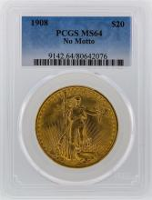 1908 PCGS MS64 $20 No Motto St. Gaudens Double Eagle Gold Coin