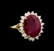 10.88 ctw Ruby and Diamond Ring - 14KT Yellow Gold