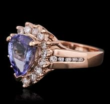 14KT Rose Gold 2.40 ctw Tanzanite and Diamond Ring