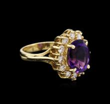 2.87 ctw Amethyst and Diamond Ring - 14KT Yellow Gold