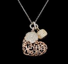 1.08 ctw Diamond Pendant With Chain - 14KT Tri Color Gold