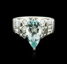 Platinum 2.07 ctw Aquamarine and Diamond Ring