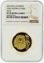 1995 NGC PF70 Ultra Cameo Austria 1000S Atlanta Olympics Zeus Gold Coin