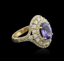 14KT Yellow Gold 2.05 ctw Tanzanite and Diamond Ring