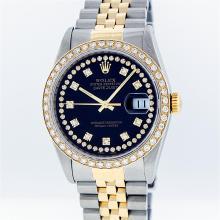 Rolex Two-Tone Blue String Diamond VVS DateJust Men's Watch