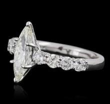 14KT White Gold 1.96 ctw Marquise Cut Diamond Ring