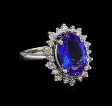 4.67 ctw Tanzanite and Diamond Ring - 14KT White Gold