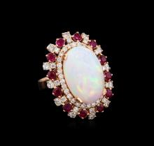 11.45 ctw Opal, Ruby and Diamond Ring - 14KT Rose Gold