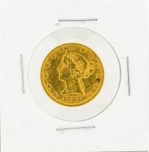 1882 $5 AU Liberty Head Half Eagle Gold Coin