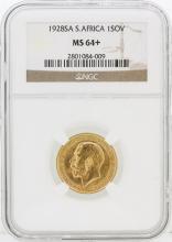 1928-SA NGC MS64+ S.Africa 1SOV Gold Coin